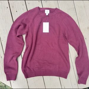 Boys large maroon lands end knit sweater crew NWT